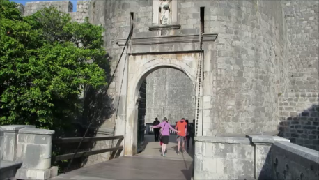 Pile Gate, the entrance to Dubrovnik. Built in 1537 to protect the town, it was raised every evening