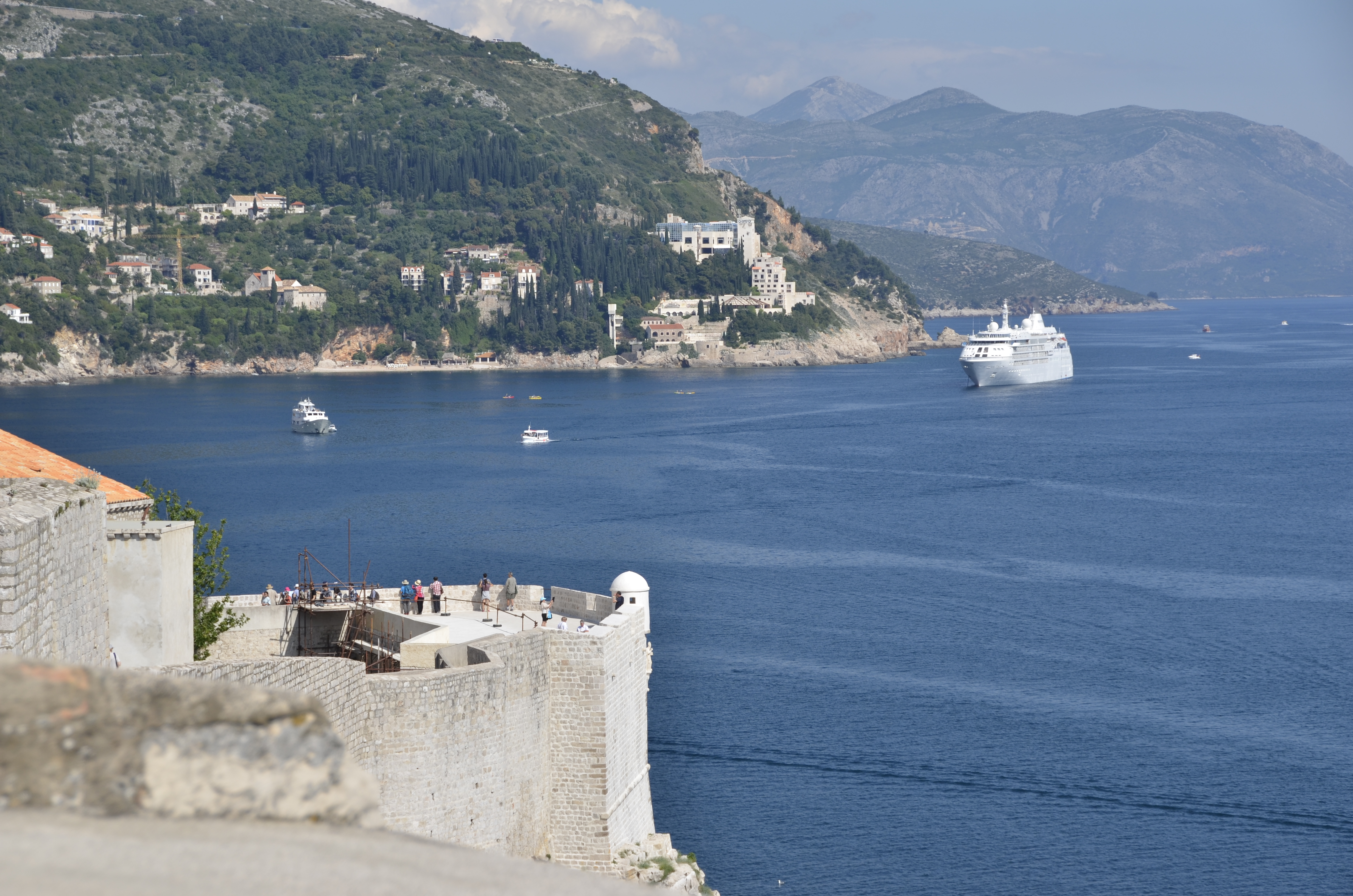 Cruise ship entering the harbor of Dubrovnik.