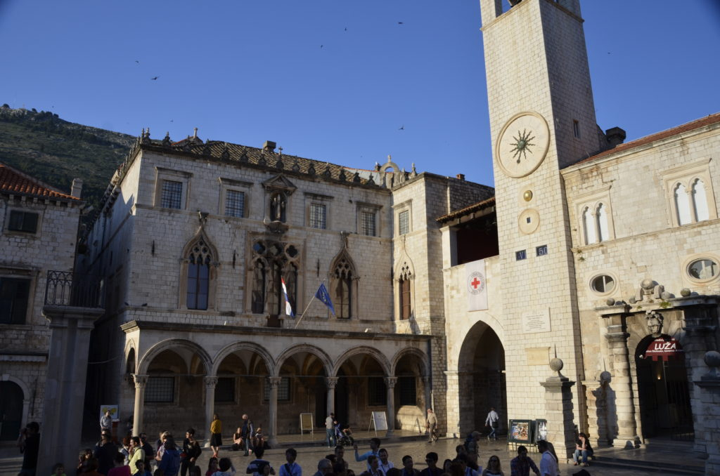 Sponza Palace. Built in 1516-1522 to serve as a customs house, it is one of the few buildings to have survived the 1667 earthquake. It is now the State archives, which holds manuscripts dating back nearly a thousand years.