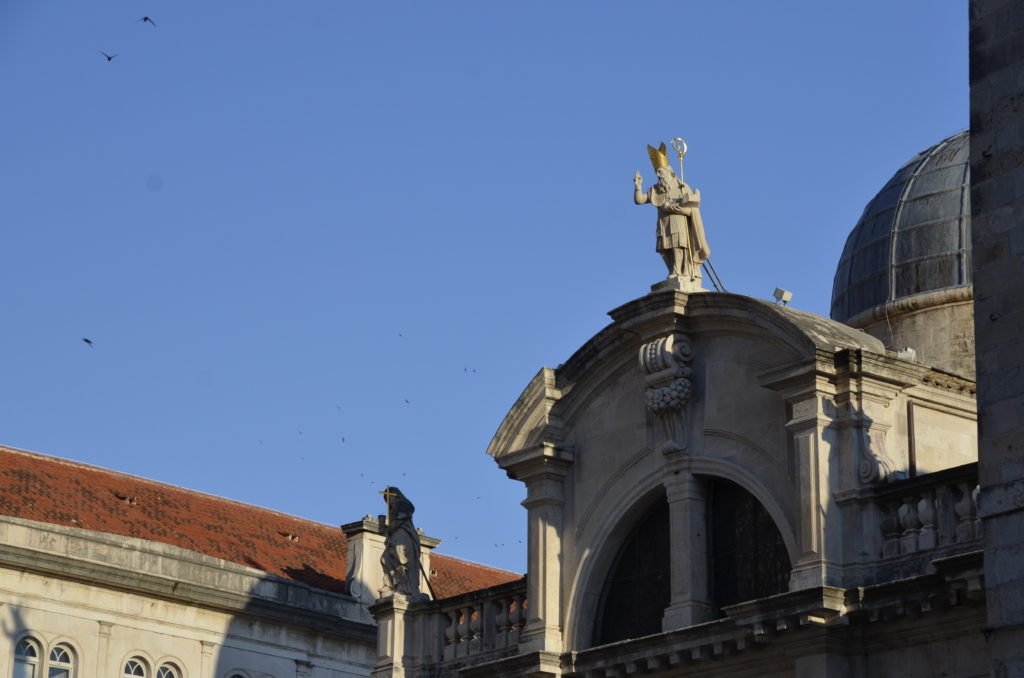 St Blaise Church, a beautiful baroque church, with a statue of St. Blaise on top, heavenly protector of Dubrovnik.