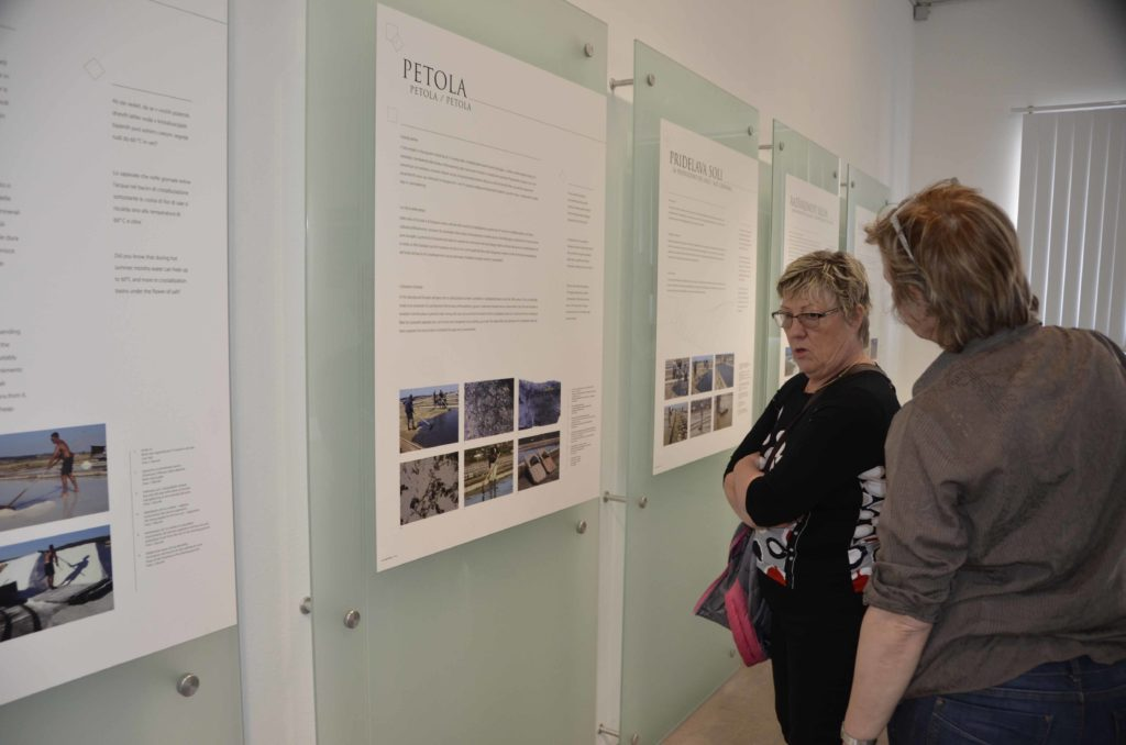 Tamara and Nives check out some of the displays in the Sečovlje Salina Nature Park musuem