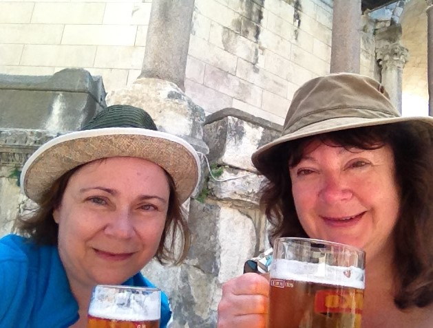 Enjoying a cold Croatian beer in the center of Diocletian Palace.