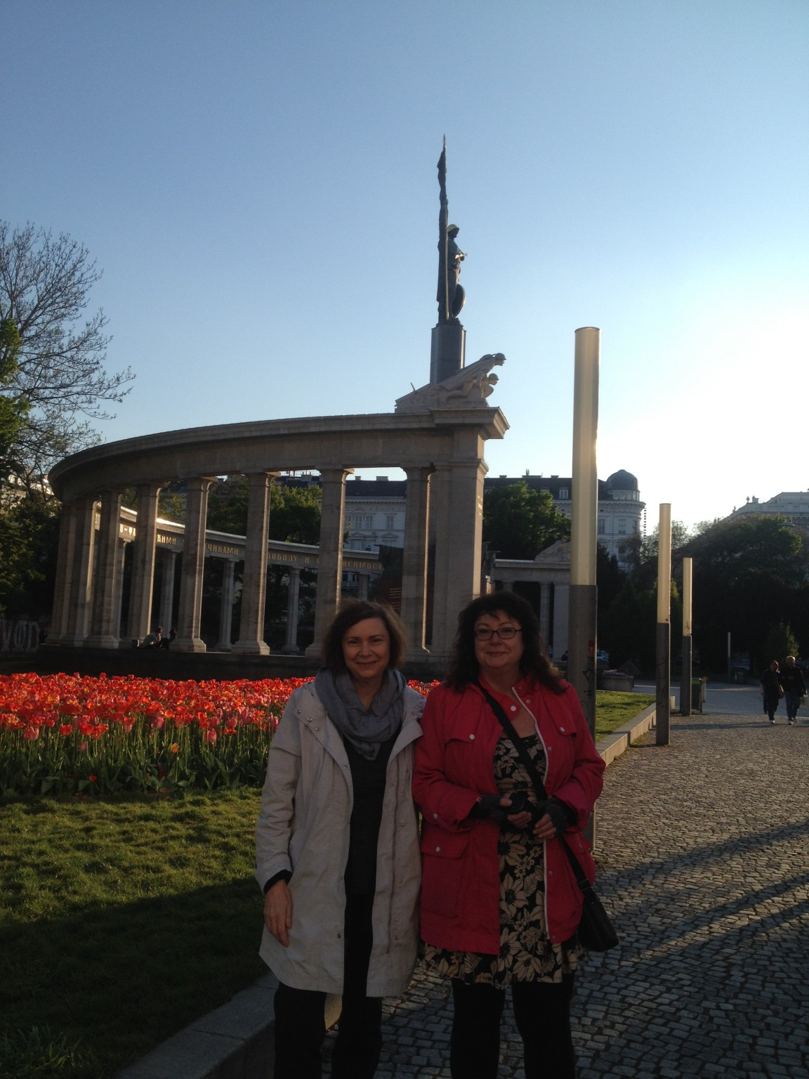 Adriane and Marina sightseeing in Vienna. We are in front of Soviet War Memorial
