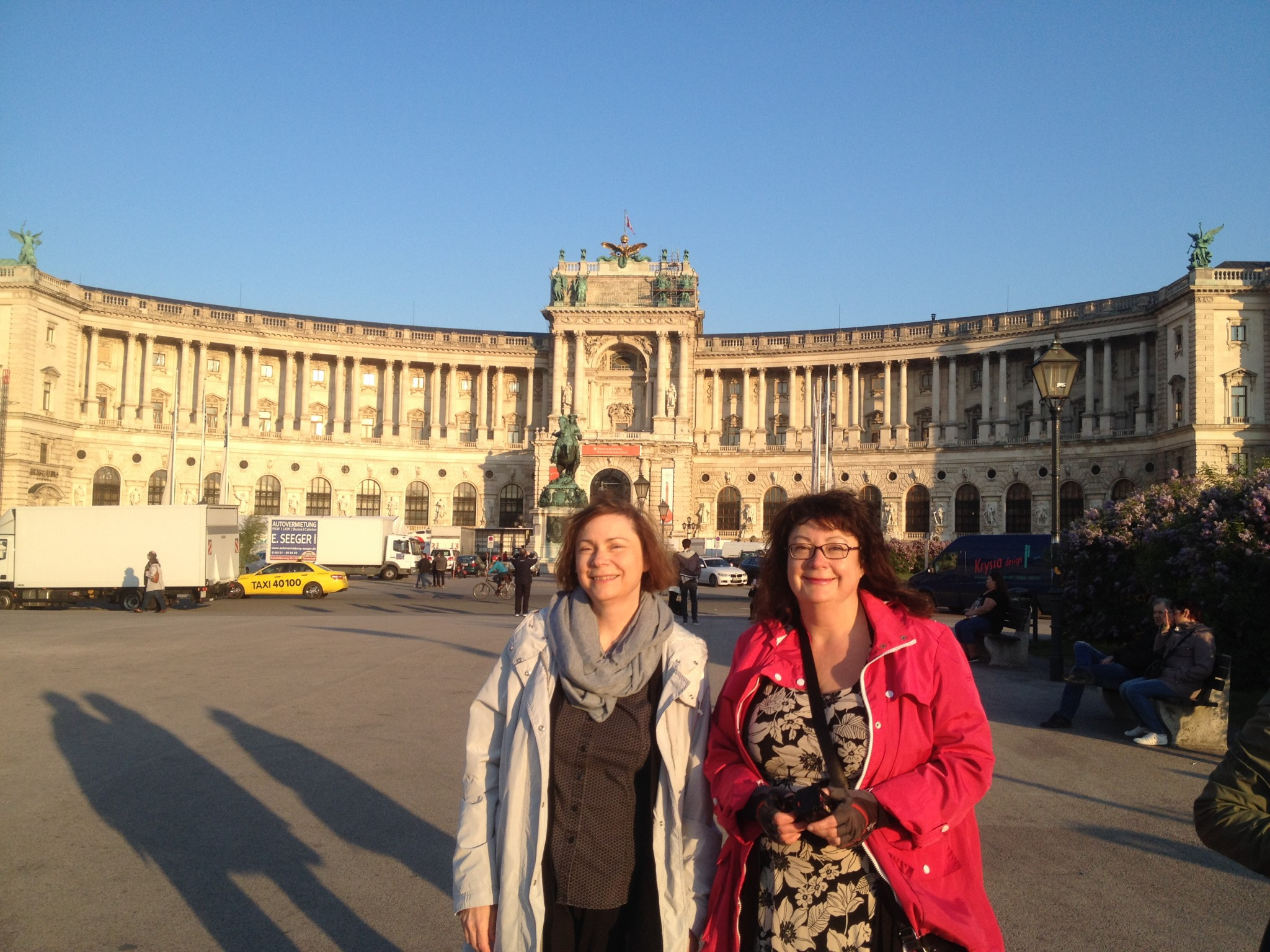 Adriane and Marina just can't get enough of the architectural marvels surrounding them. This is the Austrian National Library.