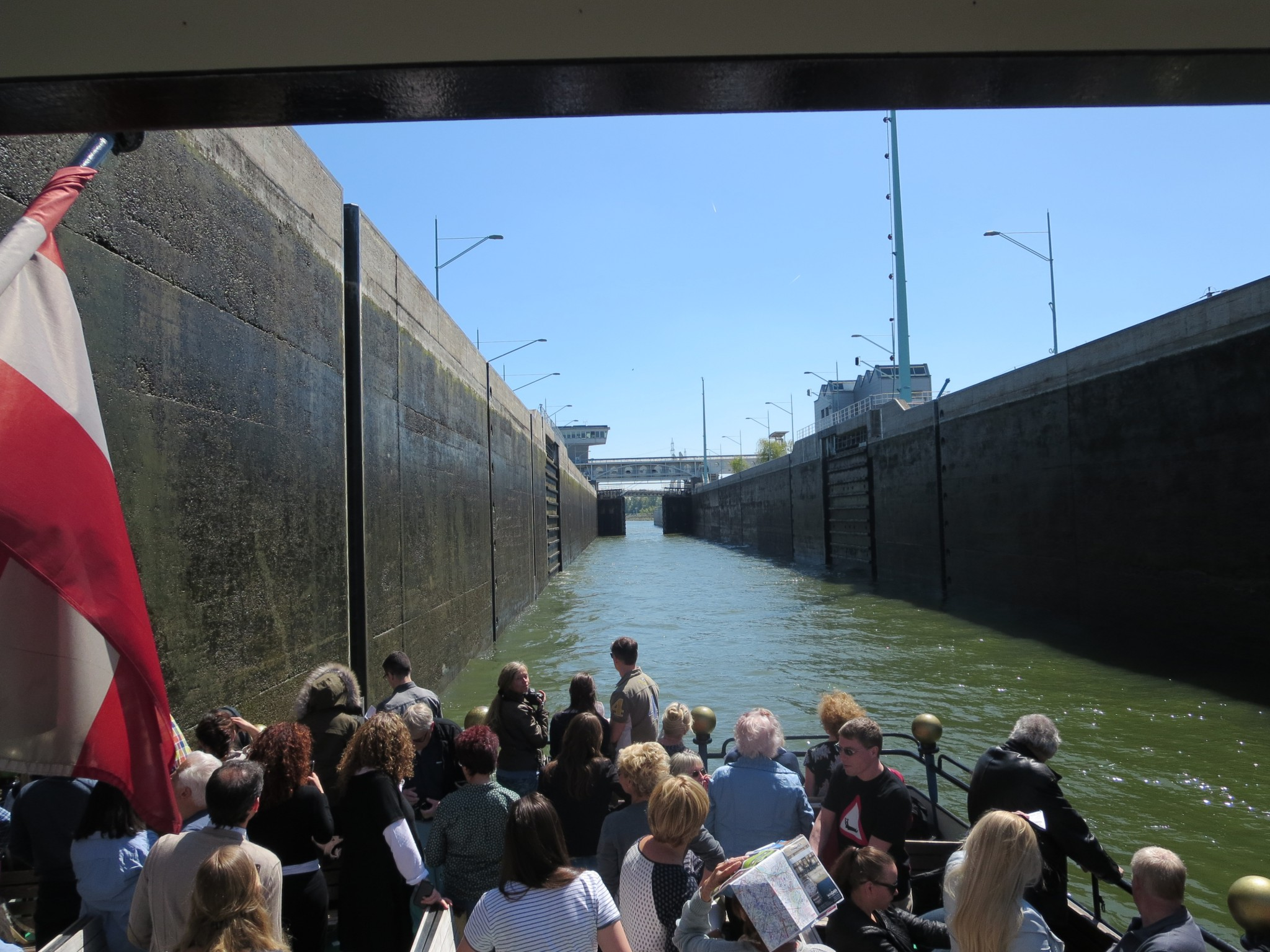 Going through the locks on the Danube river