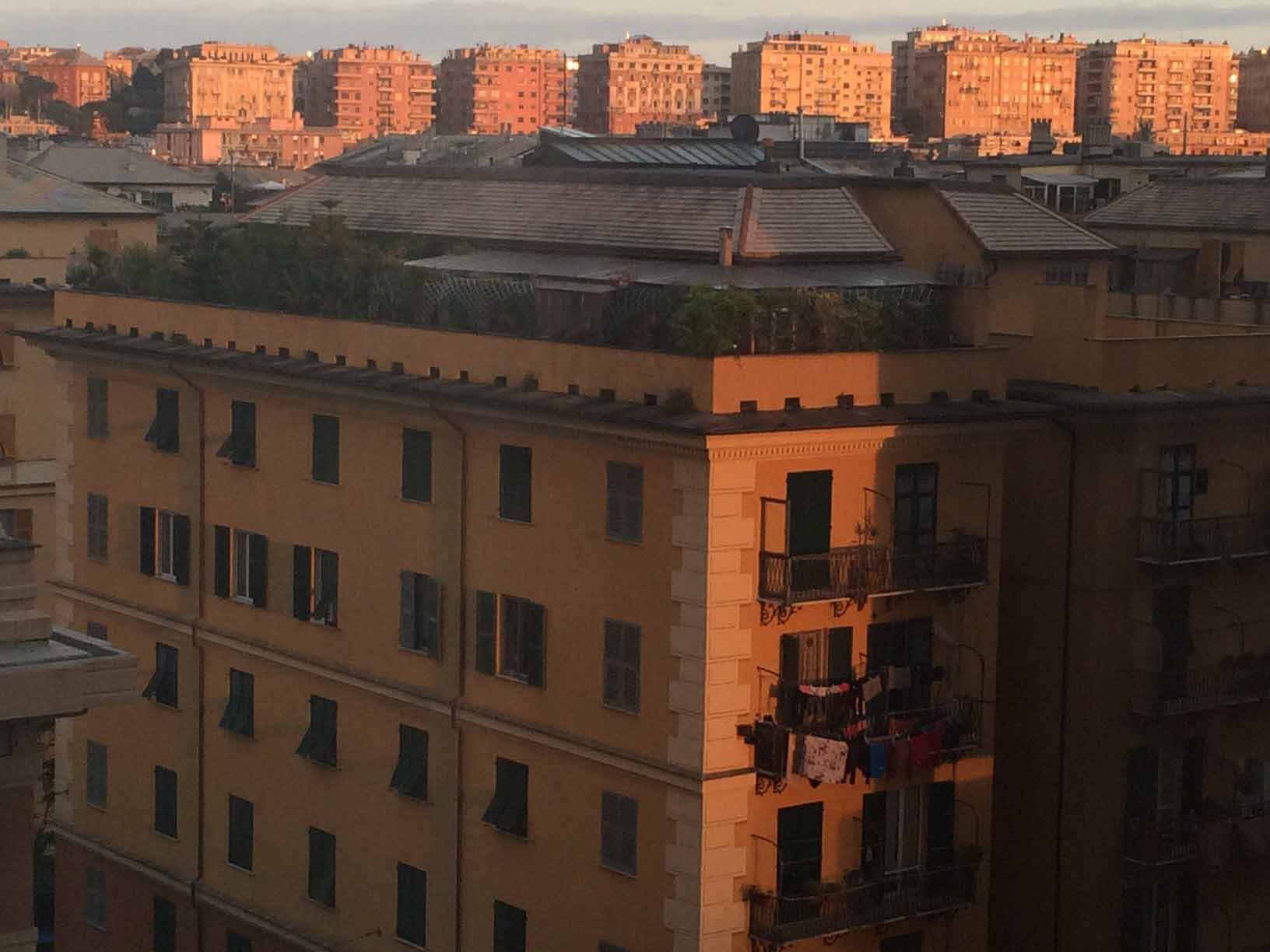 Lost in Genoa, we wondered past cheerless buildings. Don't trust your GPS.